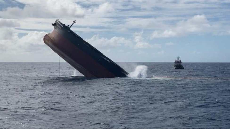 A part of the Japanese-owned bulk carrier MV Wakashio that ran aground off Mauritius is pictured during a planned sinking of the stem section of the vessel, August 24, 2020.