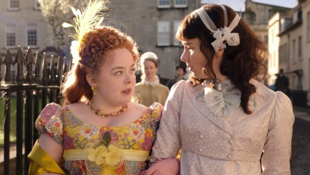NICOLA COUGHLAN as PENELOPE FEATHERINGTON and CLAUDIA JESSIE as ELOISE BRIDGERTON