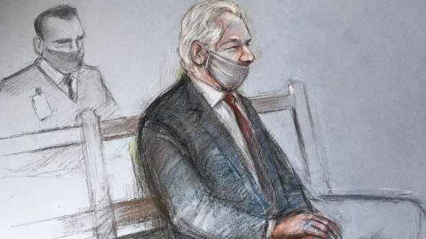 Court artist sketch by Elizabeth Cook of Julian Assange appearing at the Old Bailey in London for the ruling in his extradition case.