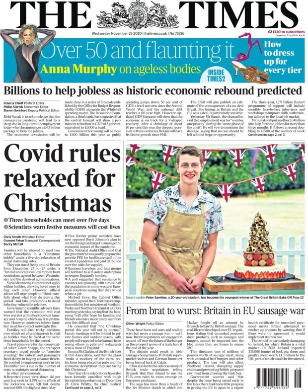 The Times front page 25 November