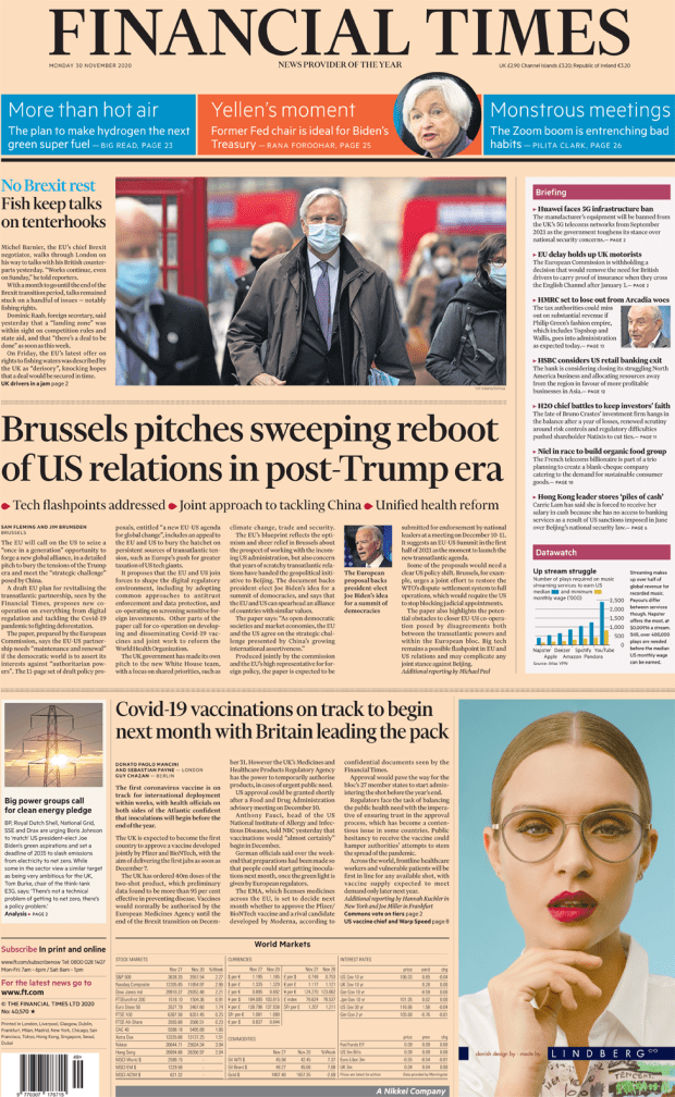 The Financial Times front page 30 November 2020
