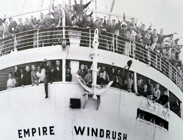 Empire Windrush arrives at Tilbury Docks from Jamaica