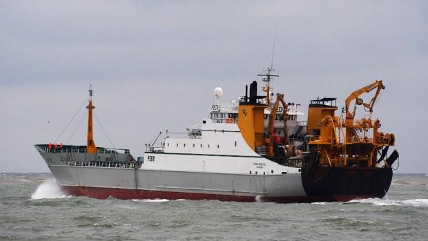 The Frank Bonefaas super trawler leaving the Port of IJmuiden