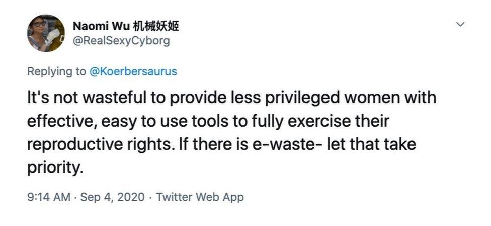 Tweet from Naomi Wu