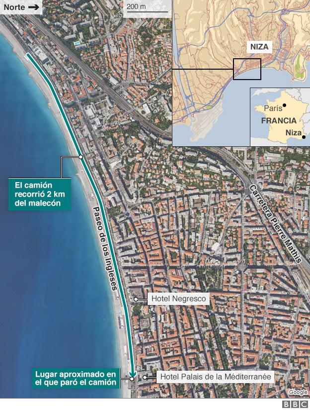 Mapa del lugar del ataque.