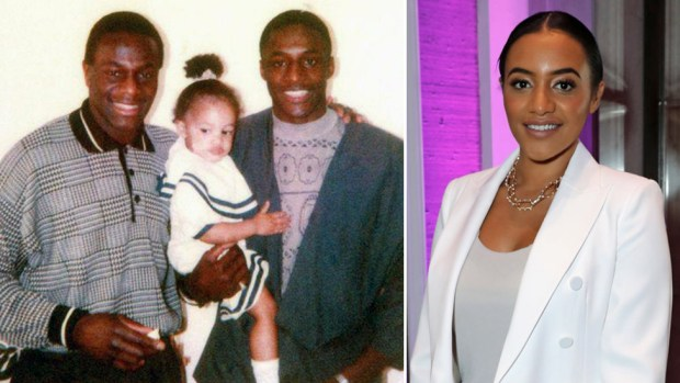 Equal rights campaigner Amal Fashanu pictured as a child with her uncle Justin (left) and father John - and her in 2019