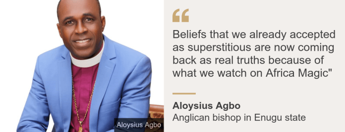 "Quote card. Bishop Aloysius Agbo: ""Beliefs that we already accepted as superstitious are now coming back as real truths because of what we watch on Africa Magic"""