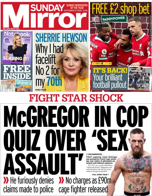 The Sunday Mirror front page 13 September