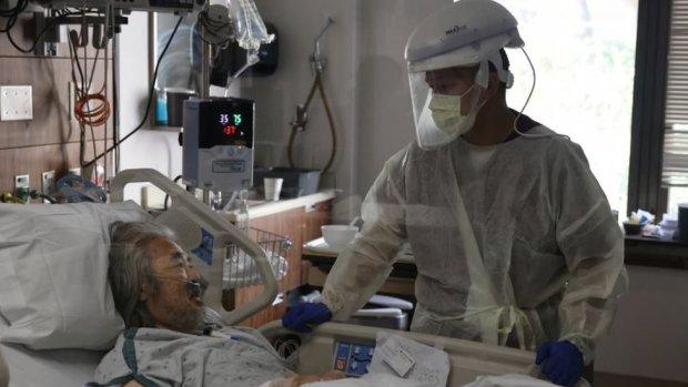 A nurse and patient in Burbank, California.