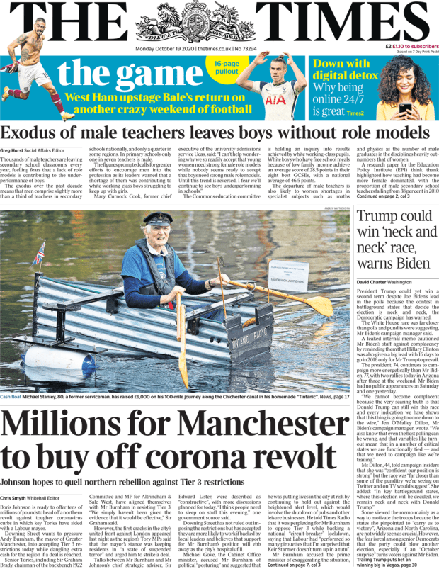 The Times front page 19 October