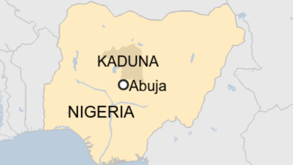 Map of Nigeria showing Kaduna and Abuja