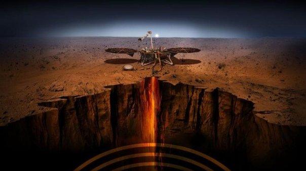 Ilustración de la sonda InSight sobre el suelo marciano