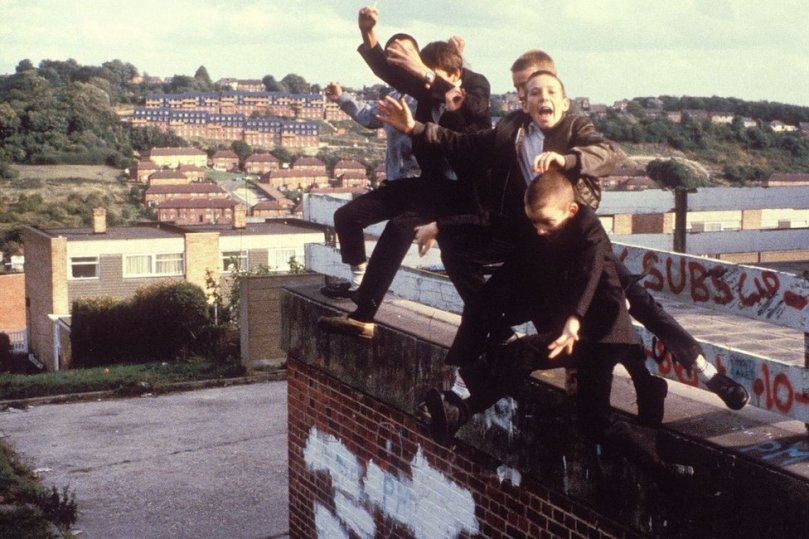 Skinheads jumping off a roof in High Wycombe