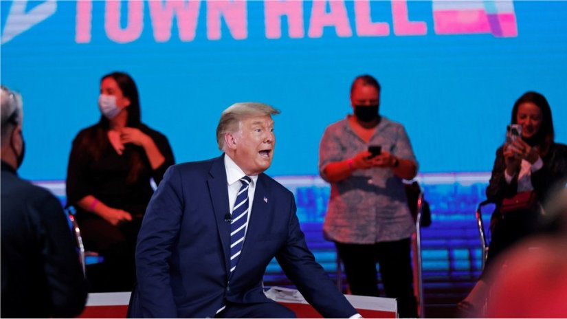 US President Donald Trump takes part in a live one-hour NBC News town hall forum