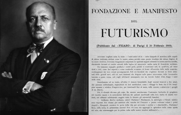 """Aunque el """"Manifiesto futurista"""" de Filippo Tommaso Marinetti también se publicó en 1909, celebró la maquinaria como una fuerza para el bien, a diferencia de Forster"""