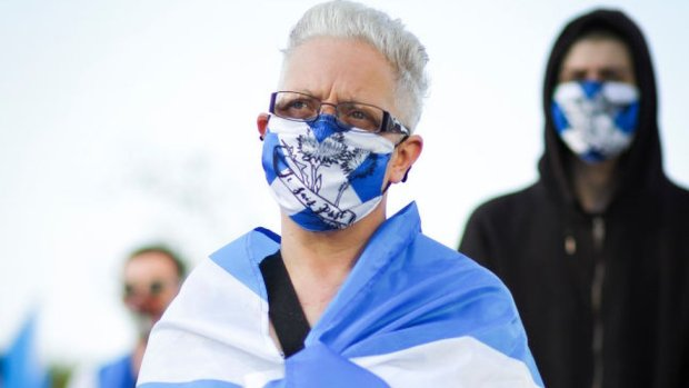 All under one banner members take part in a static Indy Ref2 rally outside the headquarters of BBC Scotland on September 17, 2020 in Glasgow, Scotland