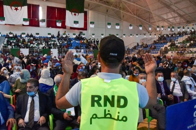 Supporters of the Algerian Democratic National Rally (RND) political party rally in October 2020.
