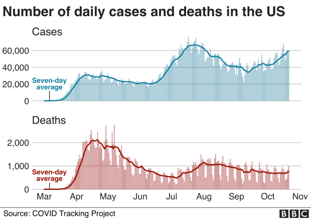 A graph showing the number of daily coronavirus cases and deaths in the US