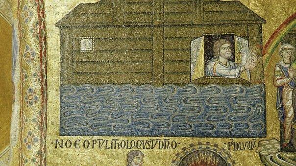 Mosaico mostrando a Noé y su arca en la Basílica de San Marcos en Venecia.