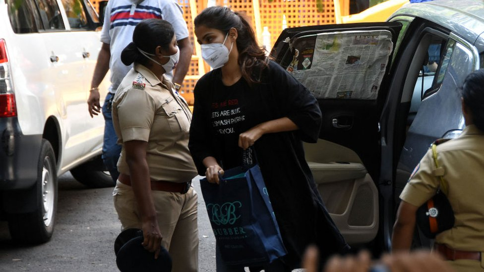 Rhea Chakraborty outside NCB office after being summoned for questioning in connection with Sushant Singh Rajput's death case at Ballard Estate on September 8, 2020 in Mumbai, India.