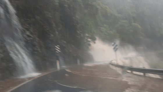 Rain flooding a road at Casino in New South Wales