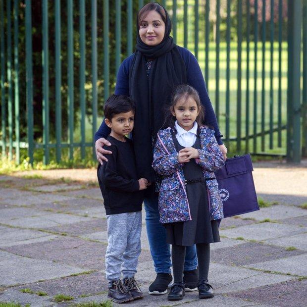 Saima Aurangzeb with her children