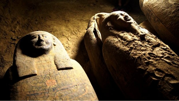 Some of the coffins discovered at an ancient burial shaft at an Egyptian necropolis near Cairo, 9 September 2020