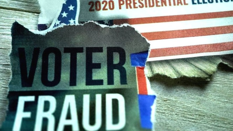 """Image showing a newspaper cutting saying """"voter fraud"""" and a US flag with 2020 presidential election written on it"""