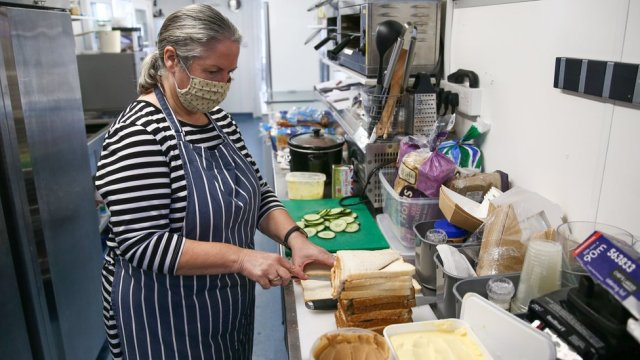 Fiona Crump, owner of the Castle Beach Cafe in Falmouth, will make free lunch bags during half term