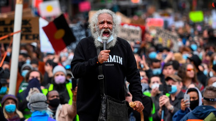 Protester addresses crowds in Australia