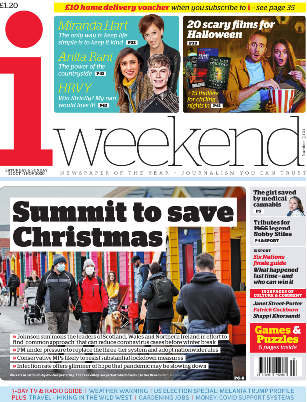 The i weekend front page October 31 2020