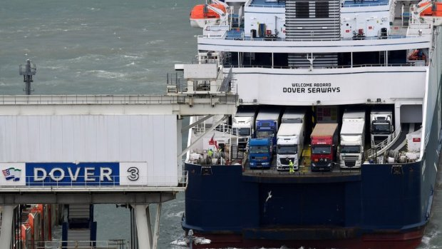 A ferry arrives at Dover