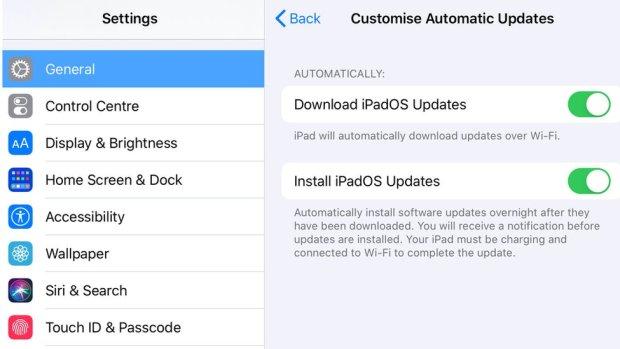 iPadOS update settings