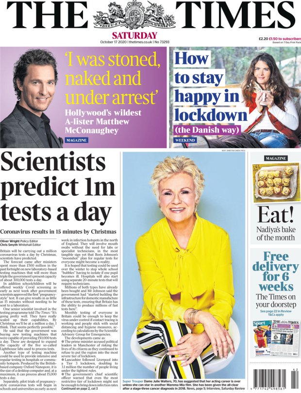 The Times front page 17 October 2020