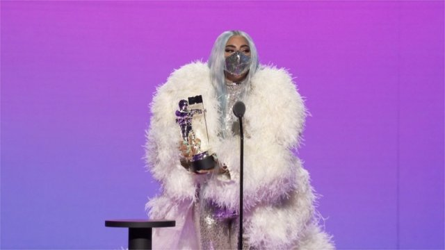 Lady Gaga accepting an award