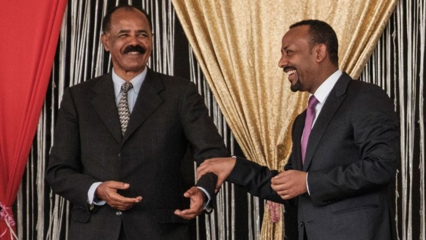 Eritrea's leader, Isaias Afwerki, and Ethiopian Prime Minister Abiy Ahmed