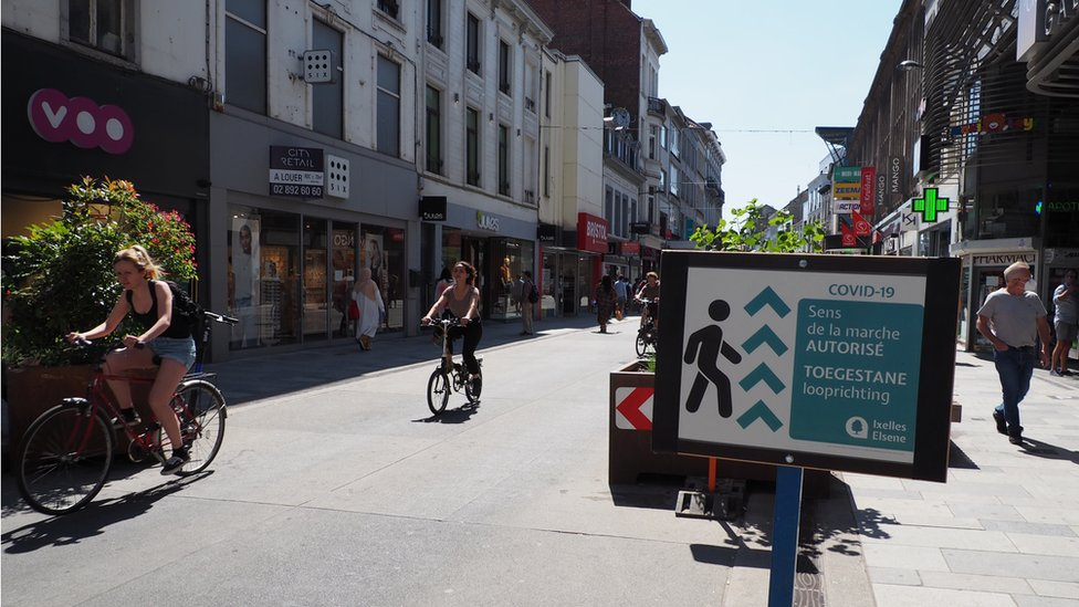 Image shows a new bike path in Brussels
