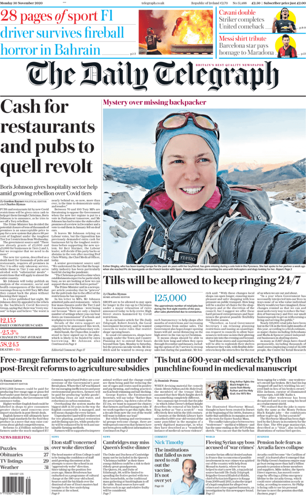 The Daily Telegraph front page 30 November 2020