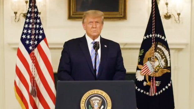 President Trump speaks via a video on Twitter the day after the Capitol riot, 7 January 2021