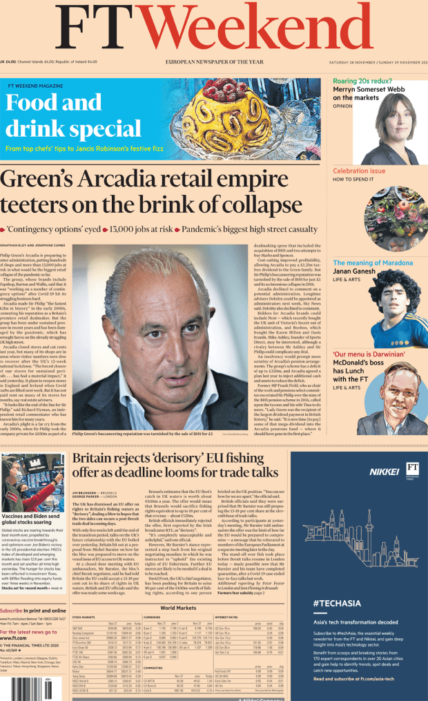 FT Weekend front page 28 November 2020