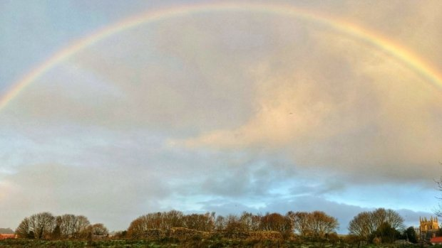 Rainbow over Old Bolingbroke village, near Spilsby, Lincolnshire