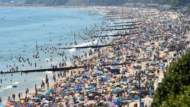 A busy beach in Bournemouth