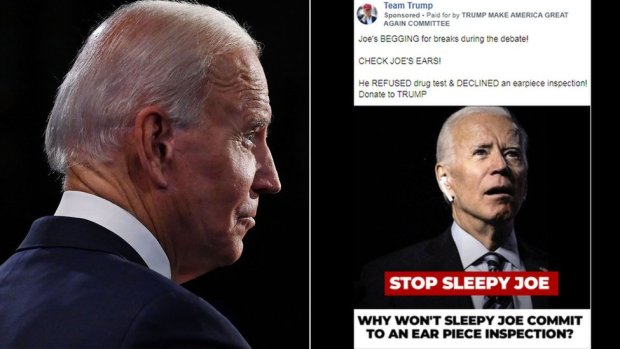 A composite image shows Biden, left, with nothing in his right ear, and in a doctored Facebook ad, right, with a wireless earbud