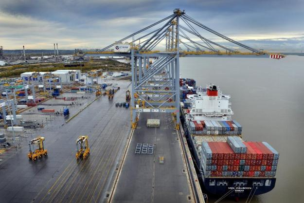 MOL Caledon docked at DP World's London Gateway, November 7, 2013, becoming the first ship to call at the new 'super port'. Image credit: London Gateway via Twitter