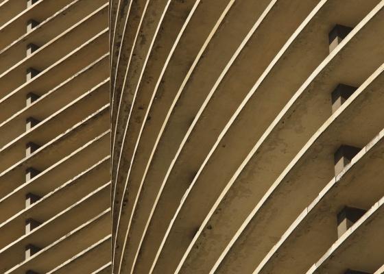 Detalhe da fachada do edifício Copan, em São Paulo, projeto de Oscar Niemeyer.