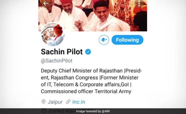 सचिन पायलट ट्विटर बायो बदलते हैं, कांग्रेस पदनाम छोड़ते हैं