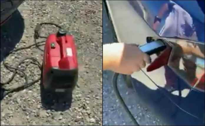The owner claims that just 5 minutes of charging is sufficient to keep the Tesla car going