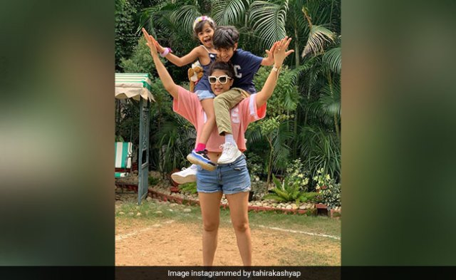 Tahira Kashyap Doubled Up As A Tree For Her Kids Virajveer And Varushka. See Pics