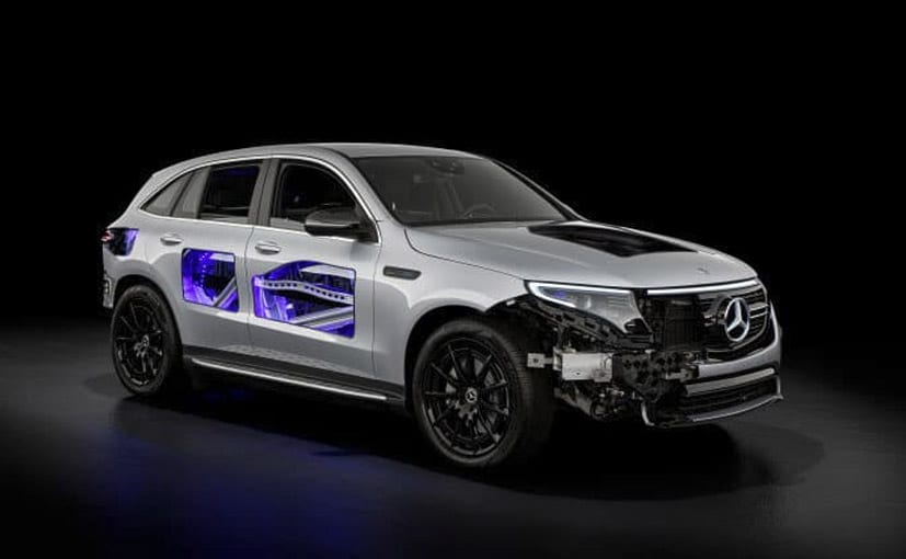 The part-transparent Mercedes-Benz EQC offers a view of otherwise concealed components of the EV