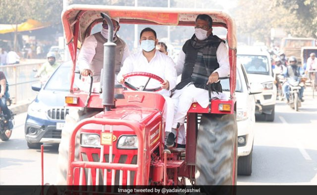Tejashwi Yadav, On A Tractor, Protests Against Fuel Price Hike, Farm Laws